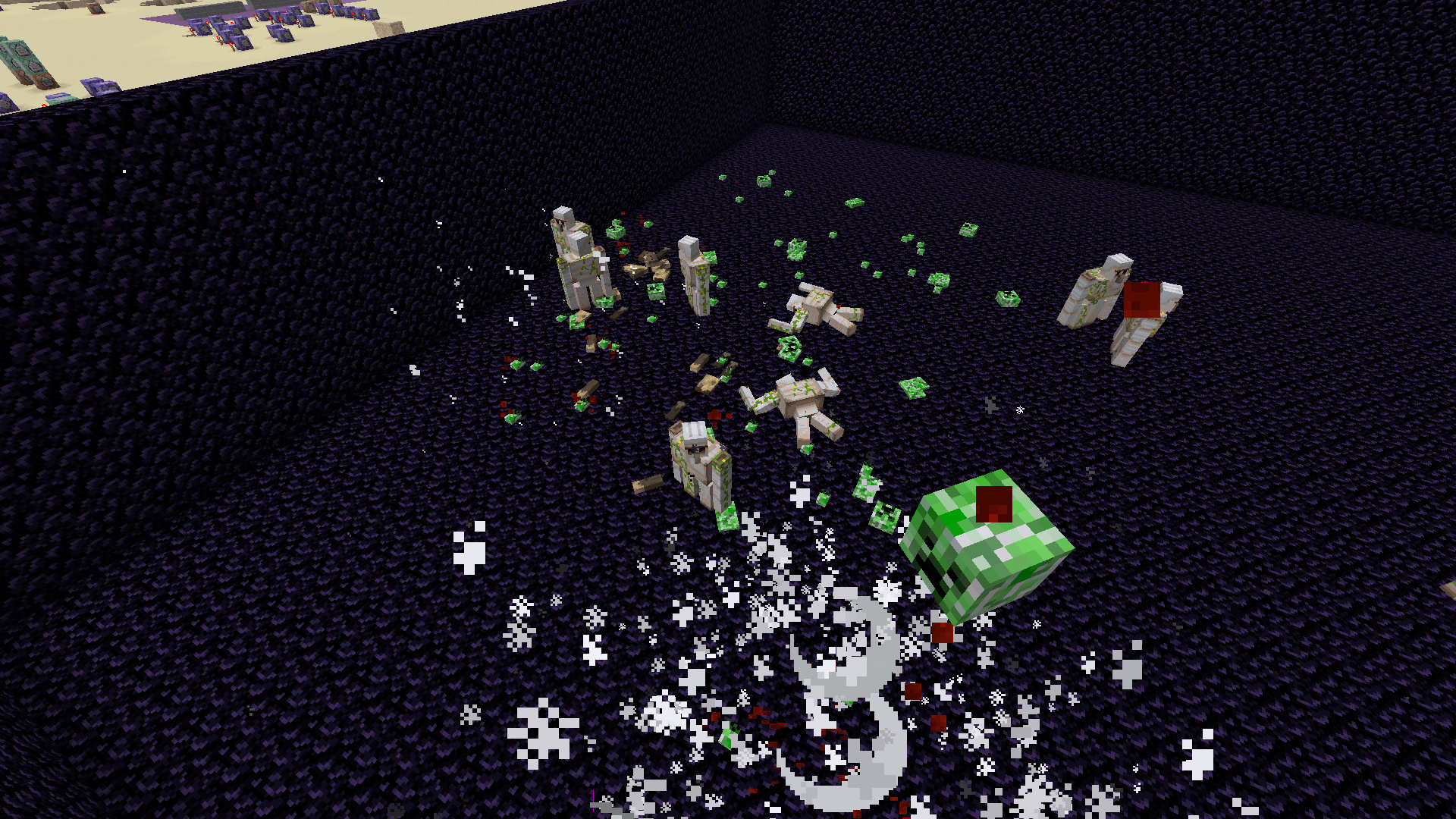 Iron Golems with exploding creepers